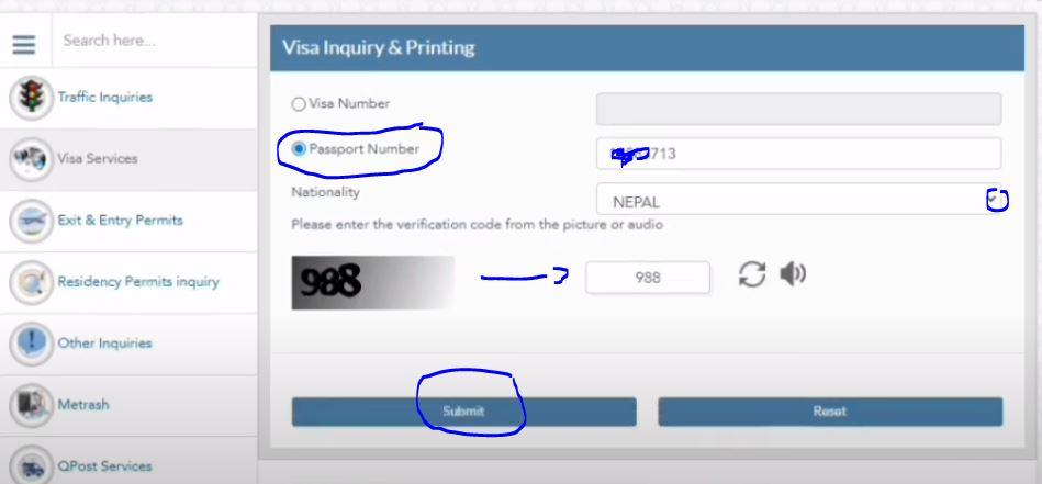 Check MOI Qatar Visa Status By Passport Number