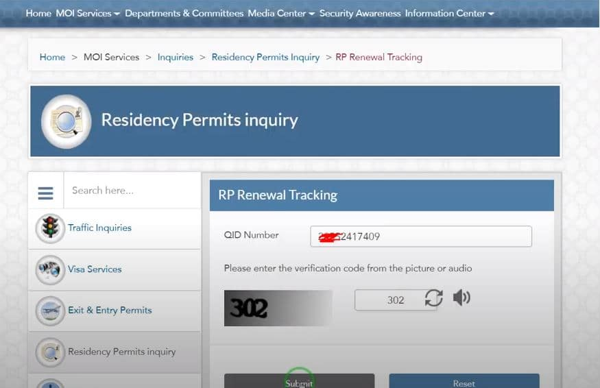 Moi Qatar id renewal tracking