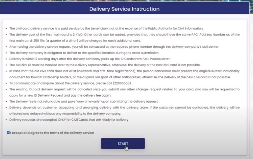 Civil ID home delivery Request